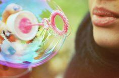 Bubbles are a perfect summer prop idea for senior portraits.  Photo session ideas. ♡