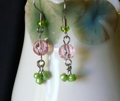 Dainty Pink and Green dangle earrings by EllensEclectics on Etsy, $8.00
