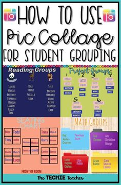 ED: How to use pic collage for student grouping Elementary Teacher, Kindergarten Classroom, School Classroom, Classroom Ideas, Elementary Art, Math Groups, Reading Groups, Guided Reading, Educational Technology