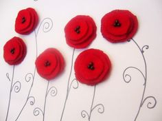 6 Red felt flower applique handmade poppy sew on singed embelishment glue on europeanstreetteam, via Etsy. Big Flowers, Felt Flowers, Fabric Flowers, Poppy Flowers, Felt Crafts, Paper Crafts, Diy Crafts, Quilt Art, Fire Flower