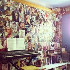 Magazine collage wall. I'm going to miss my room when I go away to college!