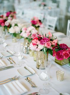 Pink wedding tablescape - http://ruffledblog.com/elegant-calhoun-beach-club-wedding