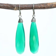 Green onyx teardrop faceted earrings with silver wire wrapped on oxidized sterling silver hooks style