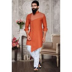 Coral Orange Festival Wear Cotton Kurta Set