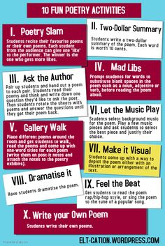 Looking for fun activities to explore the art of poetry and use it to support language learning? Try these simple and fun activities. See more in my previous posts on poetry: ICE ICE, BABY: WRITING. Teaching Poetry, Teaching Literature, Teaching Writing, Teaching English, English Teachers, English Literature Classroom, Writing Rubrics, Paragraph Writing, Opinion Writing