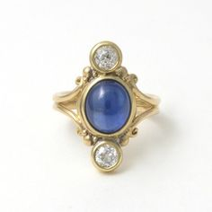 Caleb Meyer Studio 18k ring with Cabochon Cut Blue Sapphire and Diamond;  Archive #3549