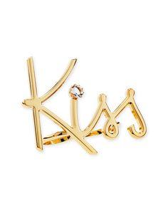 Lanvin Two-Finger Golden Kiss Ring