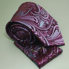 mens tie - purple paisley. Definitely want a print tie for the guys.