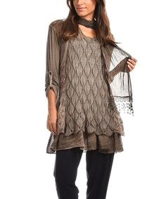 Loving this Charlotte&Louis Brown Lydia Tunic & Scarf on #zulily! #zulilyfinds