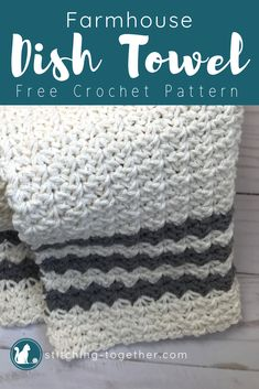 Crochet Country Dish Towel Easy crochet dish towel pattern with modern farmhouse style. You can also find the free pattern for the matching dishcloth. Ass style to your kitchen towels! Crochet Dish Towels, Crochet Kitchen Towels, Crochet Dishcloths, Washcloth Crochet, Crochet Afghans, Cotton Crochet, Crochet Yarn, Easy Crochet, Free Crochet