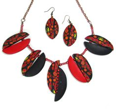 Polymer Clay Red Black and Yellow  Necklace and Earrings by NataPi, $31.00