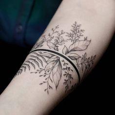 Gorgeous botanical arm band tattoo | Artist @dmitriyzakharov