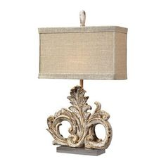 "Sterling Industries Scroll 26"" H Table Lamp with Rectangular Shade Bulb Type:"