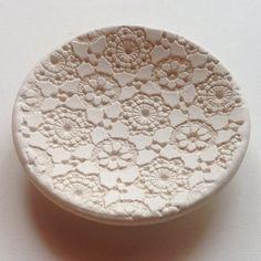 Handmade Ceramic Antique Lace Jewelry Dish