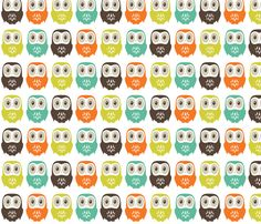 Owl in a Row fabric by laughingowldesign on Spoonflower - custom fabric