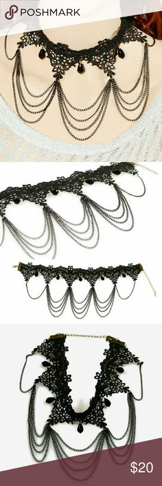 🎉HP🎉 Vintage Lace Chain Combo Black Necklace New! Vintage Lace Chain Combo Black Necklace Jewelry Necklaces