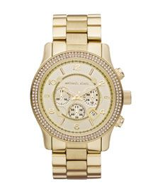 I adore this watch!  How could a girl not feel like a million wearing it?  Michael Kors Large Runway Double Glitz Watch, Golden