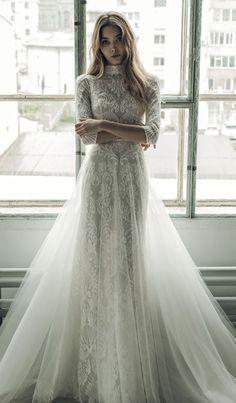 Unique high-neck quarter length sleeve embroidered wedding dress; Featured Dress: Ersa Atelier