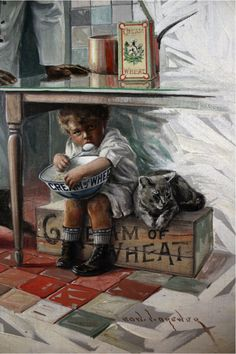 Between 1911 and 1926 Edward Brewer created 102 original paintings for the Cream of Wheat Company. Brewer's style is often compared to that of Norman Rockwell; both artists relied on familiar surroundings, family and friends and captured the innocence of childhood and the traditional values of family life.
