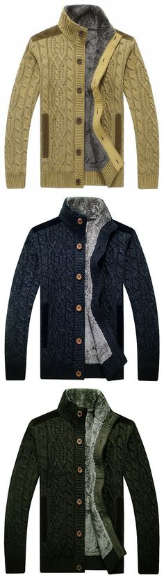 US$63.99 Mens Winter Warm Thick Velvet Sweater Coat Jacquard Knitted Casual Cardigans