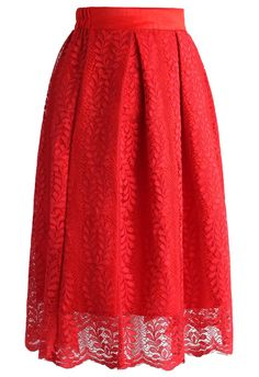 Red Flair Lace Midi Skirt - Skirt - Bottoms - Retro, Indie and Unique Fashion