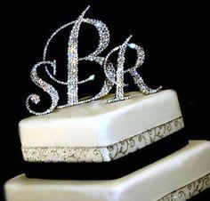 Custom   3 Initials Swarovski Crystal Monogram Cake Topper In Any Letters A  B C D E F G H I J K L M N O P Q R S T U V W X Y Z. $90.00, Via Etsy.