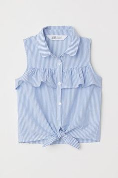 Sleeveless Tie-front Blouse - Light blue white striped - Kids H M US 1 Baby Dress Design, Baby Girl Dress Patterns, Frock Design, Dresses Kids Girl, Girls, Teen Fashion Outfits, Kids Outfits, Kids Fashion, Cute Outfits