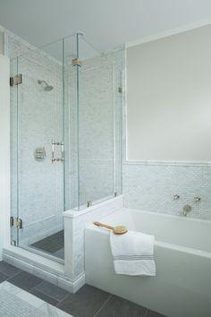 Walk In Bathroom Showers, Tile Walk In Shower, Shower Tub, Master Bathroom, Bath Tub, White Bathroom, Modern Bathroom, Corner Shower Doors, Mosaic Shower Tile