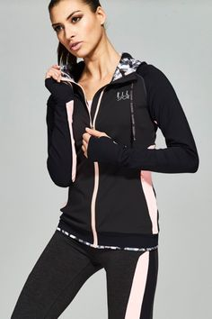 ELLESPORT create feminine, flattering styles for in or out of the gym. Beautiful soft drapes and refined fabrics give a unique twist to sports heritage products. Sport Wear, Adidas Jacket, Hooded Jacket, Feminine, Swimming, Zip, Sports, Jackets, How To Wear