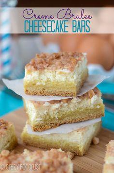 Creme Brulee Cheesecake Bars   crazyforcrust.com   #cheesecake #cookie #chobani