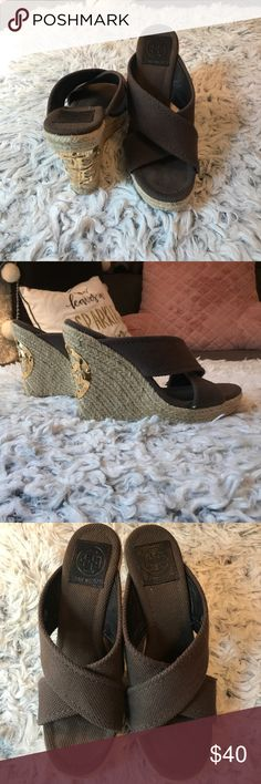 Tory Burch Brown Wedge Sandals. Size 8. Brown Tory Burch Espadrille wedge sandals. They show some signs of wear, see the photos, but overall great condition. They have the gold Tory Burch logo on the back! Super pretty! Tory Burch Shoes Wedges
