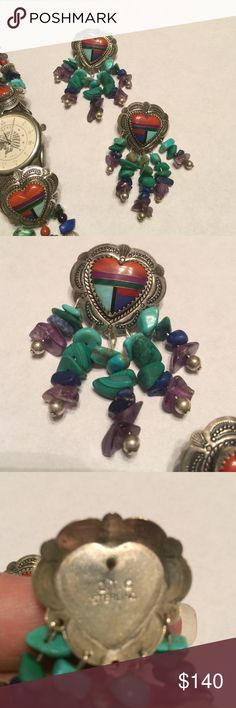 """Vintage Zuni Sterling Earrings These are the perfect compliment to the watch that is also listed in my closet!  Beautiful inlay work and beaded dangles. 2.25"""" long. Jewelry Earrings"""