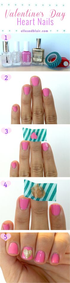 DIY Valentine's Day heart nails! So doing this
