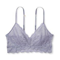 Women's Floral Lace Bralette Misty Blue XS