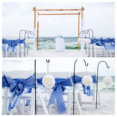 LOVE! Super simple, but beautiful beach #wedding ceremony setup
