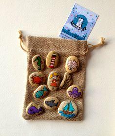 Kamienne opowiastki by Unicatella  Story Stones - Ocean  Kamienie ręcznie malowane, kamienne gry i zabawy