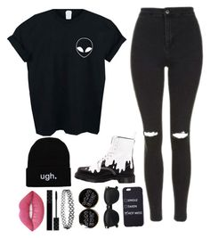 """""""I Act Strong, But I'm Weaker Than Ever """" by feel-like-infinity ❤ liked on Polyvore featuring WithChic, Topshop, Dr. Martens, Gucci, Lime Crime and afother"""