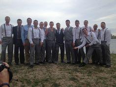 A handsome groomsmen ensemble, I like the idea of suspenders