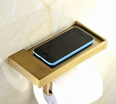 Greenspring Wall Mounted Toilet Tissue Paper Holder With Phone Holder Shelf Antique Brass >>> Continue to the product at the image link.