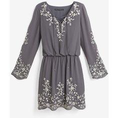 White House Black Market Boho Embroidered Dress