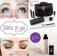 Younique June Kudos is AMAZING!! Great deal and it comes with a free travel size makeup bag that has brush holders inside! 3D Mascara, lip gloss, Splurge cream eye shadow in tenacious (gold)   www.DullToDiva.com