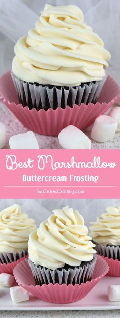 Best Marshmallow Buttercream Frosting - a sweet and creamy marshmallow buttercream frosting that tastes just like the inside of a Hostess Ding Dong. This yummy homemade butter cream frosting is great (Cupcake Recipes) Frosting Recipes, Cupcake Recipes, Baking Recipes, Dessert Recipes, Homemade Frosting, Gourmet Cupcakes, Healthy Recipes, Cookie Recipes, Brownie Desserts