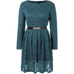 Long Sleeve A Line Lace Dress ($25) ❤ liked on Polyvore featuring dresses, blue lace dress, lacy dress, lace dress, a line silhouette dress and longsleeve dress