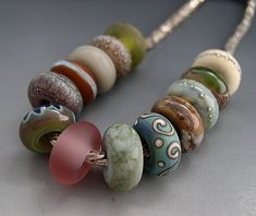 Naos  Indian Summer Made To Order BIG HOLE Large Hole by Na0sGlass (Craft Supplies & Tools, Jewelry & Beading Supplies, Beads, handmade, naos, lampwork beads, big hole bead, bhb, large hole bead, olive green, copper green, navy blue, free shipping, european beads, lampwork beads set, Turquoise)