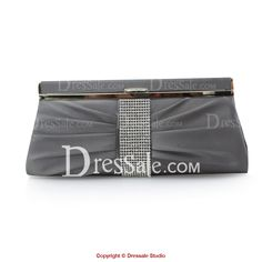 Modest Clutch with Rhinestones and Clip Closure