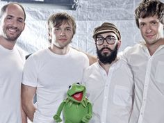 OK Go shows some Muppet solidarity. The rock quartet contributes a cover of The Muppet Show's theme song to Muppets: The Green Album.