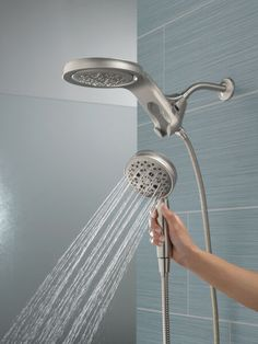 HydroRain® H2Okinetic® 5-Setting Two-in-One Shower Head 58680-SS | Delta Faucet Shower Arm, Rain Shower, Navigation Design, Shower Together, Dual Shower Heads, Slide Bar, Delta Faucets, Article Design, Ss