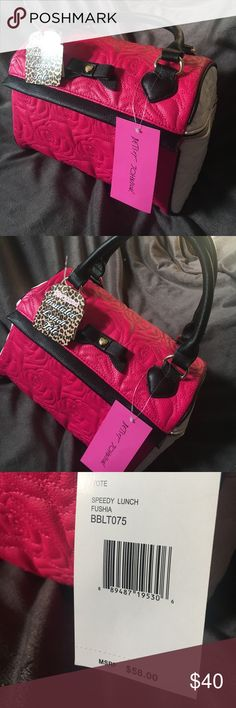 Betsey Johnson Lunch Tote Speedy Like I said, I only sell things I love or have loved. And I LOVE Betsey Johnson's stylish insulated lunch totes. I have two for me and have sold or gifted so many of these to friends and family!  Fuchsia, black and white with roses stitched in one of Betsey Johnson's minimalist styles. It's just as stylish and cute! Bring your lunch in style to work, school, amusement parks, baseball parks, on errands! They are so practical and easy to clean just as they are…