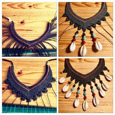 Making of black micro macrame collier with cowrie shells :)
