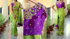 SOLDOLIVE GREEN PURPLEPrice 4899 RsBlouse - Purple raw silkBlouse work shown is available at an additional costTo buy this sari mail to varunigopen@gmail.comwhatsapp 9849125889 16 October 2016